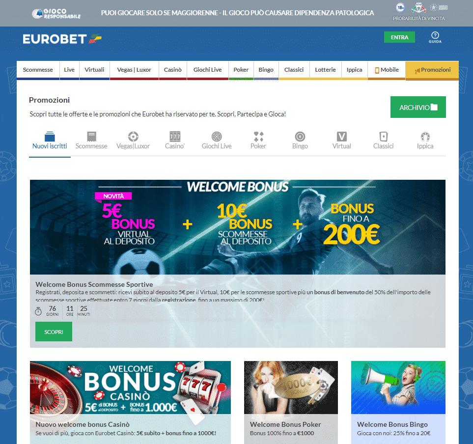 Eurobet sezione Promo
