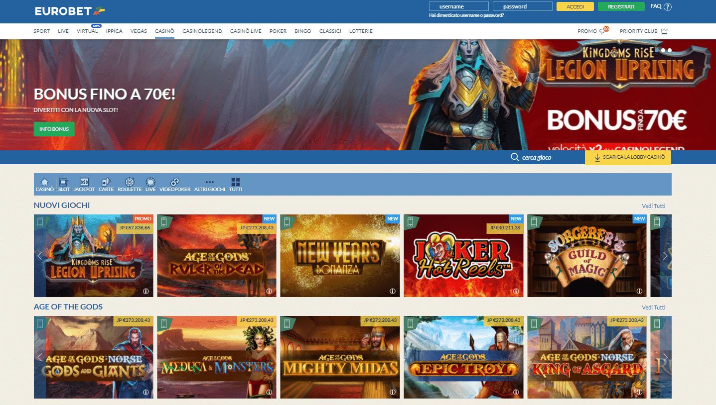 Eurobet Sezione Slot Machine e Casino