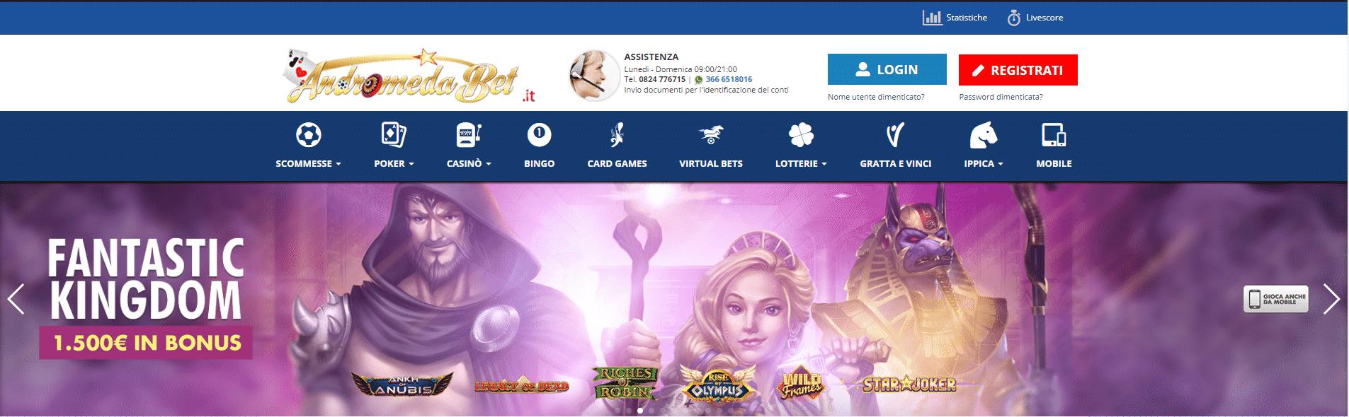 Andromedabet Homepage
