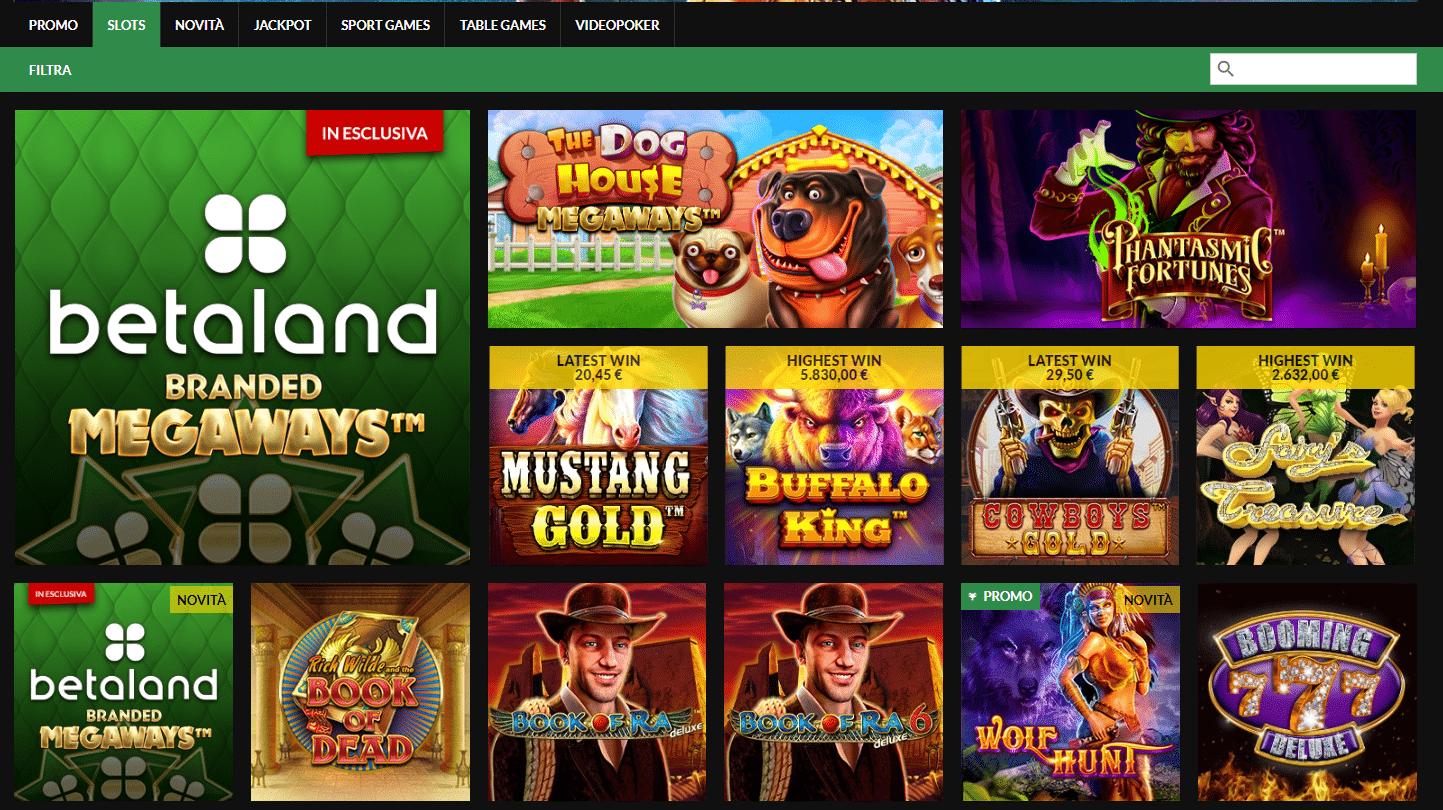 Betaland slot machine e giochi