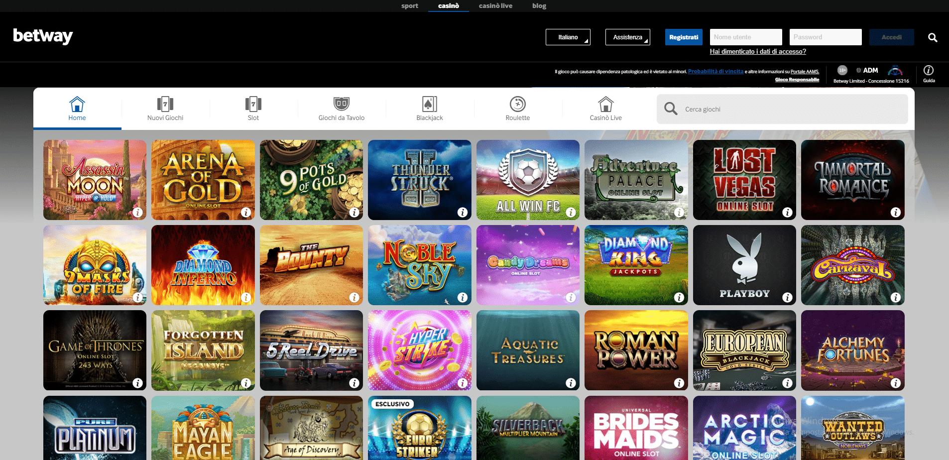 Betway slot e casino