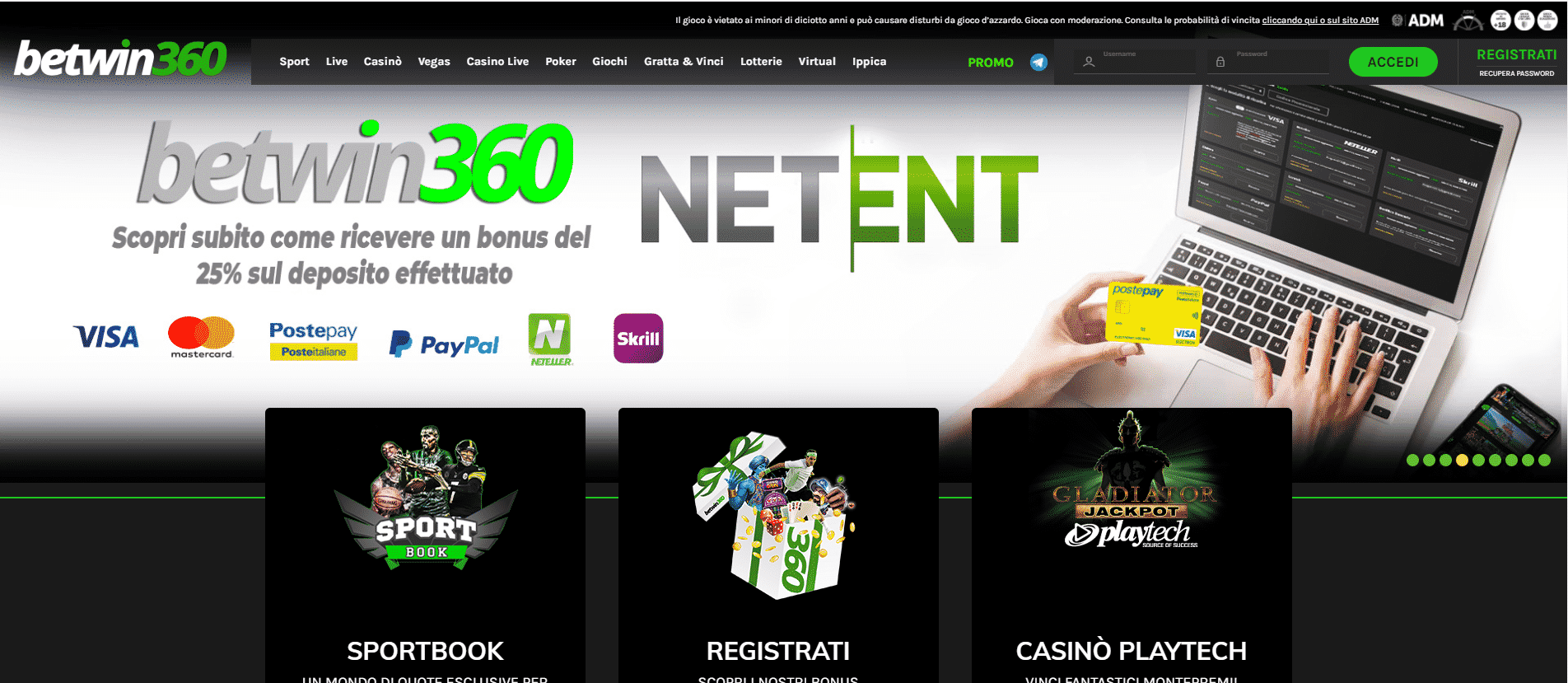 Betwin360 Homepage