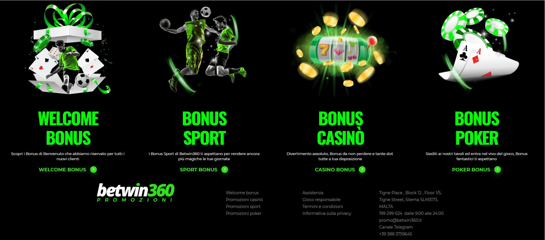 Betwin360 Promozioni e Bonus