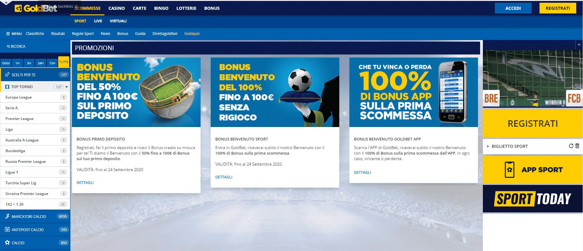 Goldbet Bonus Homepage