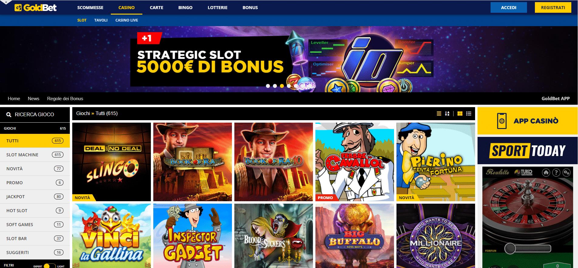 Goldbet giochi e slot