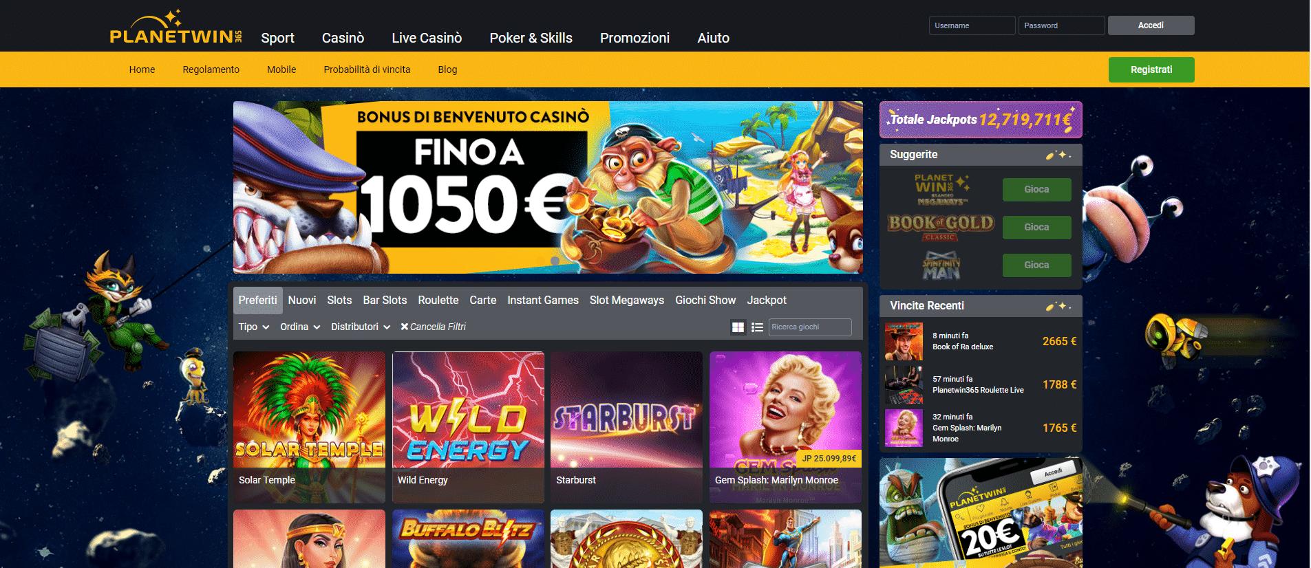 L'offerta di giochi di Planetwin365