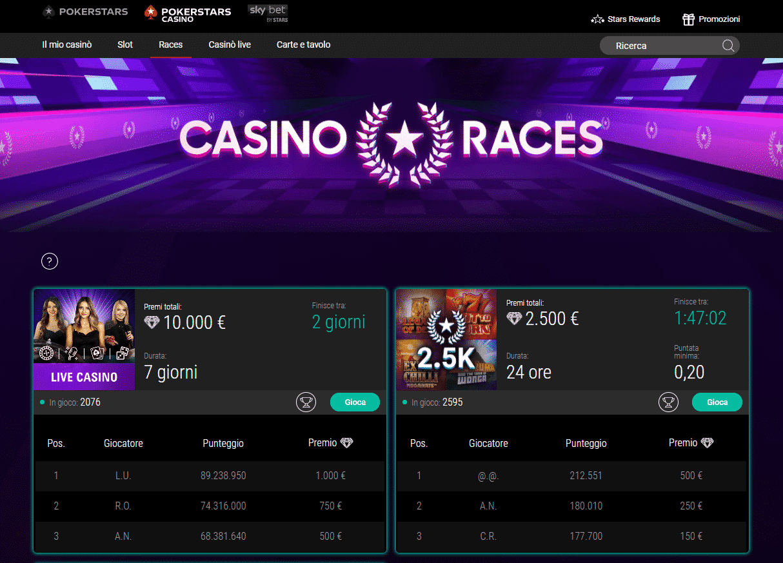 Pokerstar Casino Races