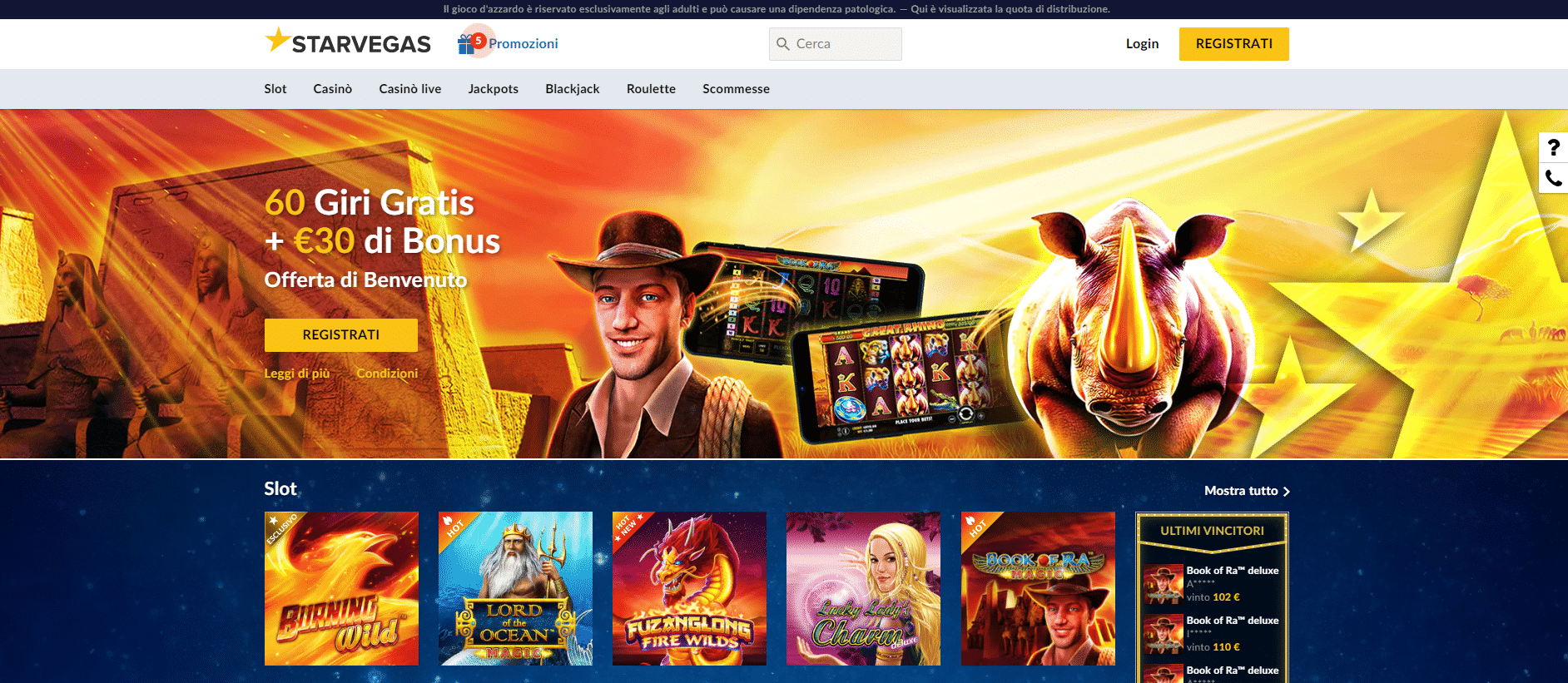 Starvegas Homepage